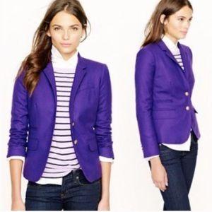 J CREW Schoolboy Blazer  Purple Wool Size 12.